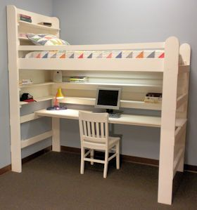 Loft Bed Bunk Bed College Youth Child Teen Loft Bed All-In-One Sleep & Study Loft Bed with Long Desk.  Click for more info...