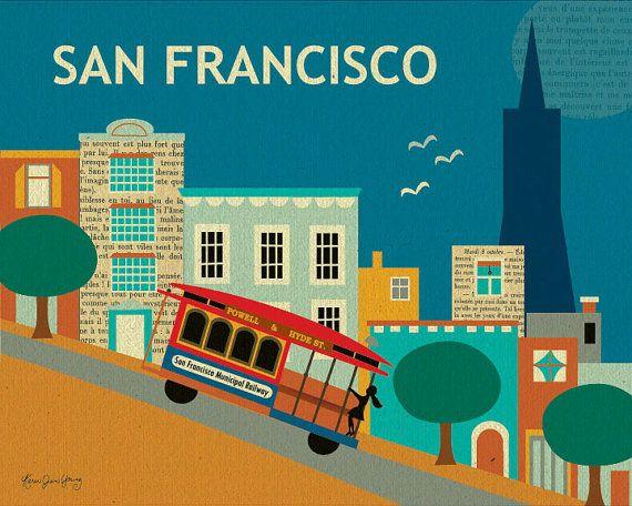 San Francisco, Nob Hill Collage Style 8 x 10 Poster Art Print