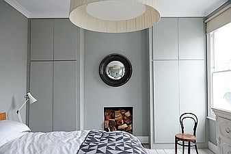 Grey bedroom, built in wardrobes