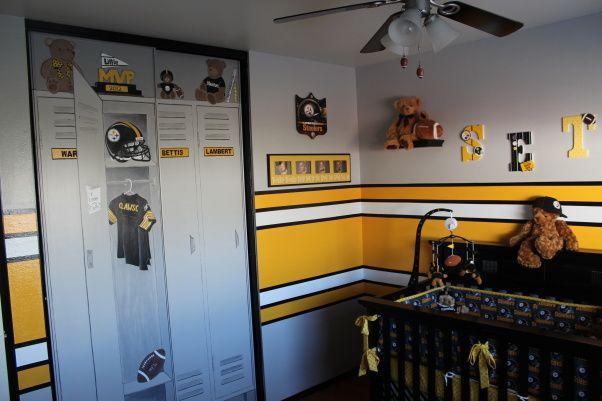 steelers bedroom. Steeler football room love the locker lookin door  Scotts man cave Pinterest Football rooms Lockers and Doors