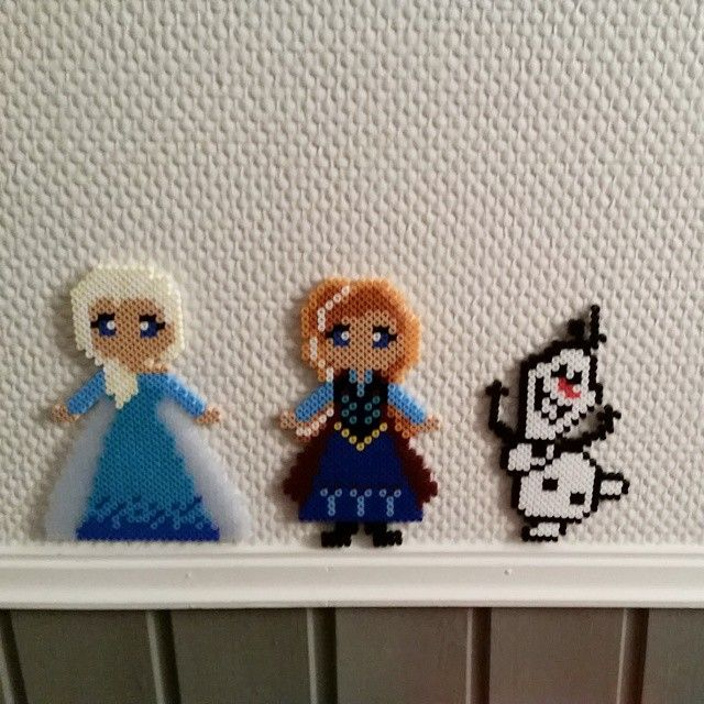Elsa, Anna and Olaf - Frozen hama beads by carolinnea