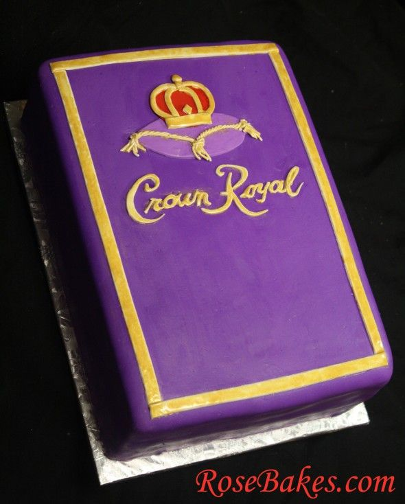 Crown Royal Cake - Funfetti Cake with Cream Cheese Frosting decorated with Homemade Marshmallow Fondant.  Visit RoseBakes.com for more details!