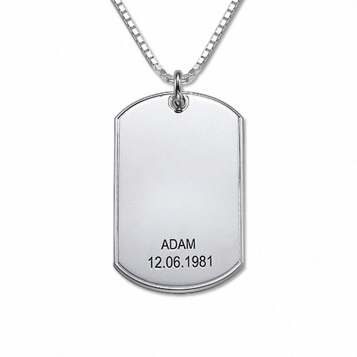 Collar de Plata con Placa de Identificación (DogTag) modelo Noah. Collar de Plata 925 con una Placa de Identificación (Dog Tag) personalizada con dos líneas de texto.  (Ref.29093-01)