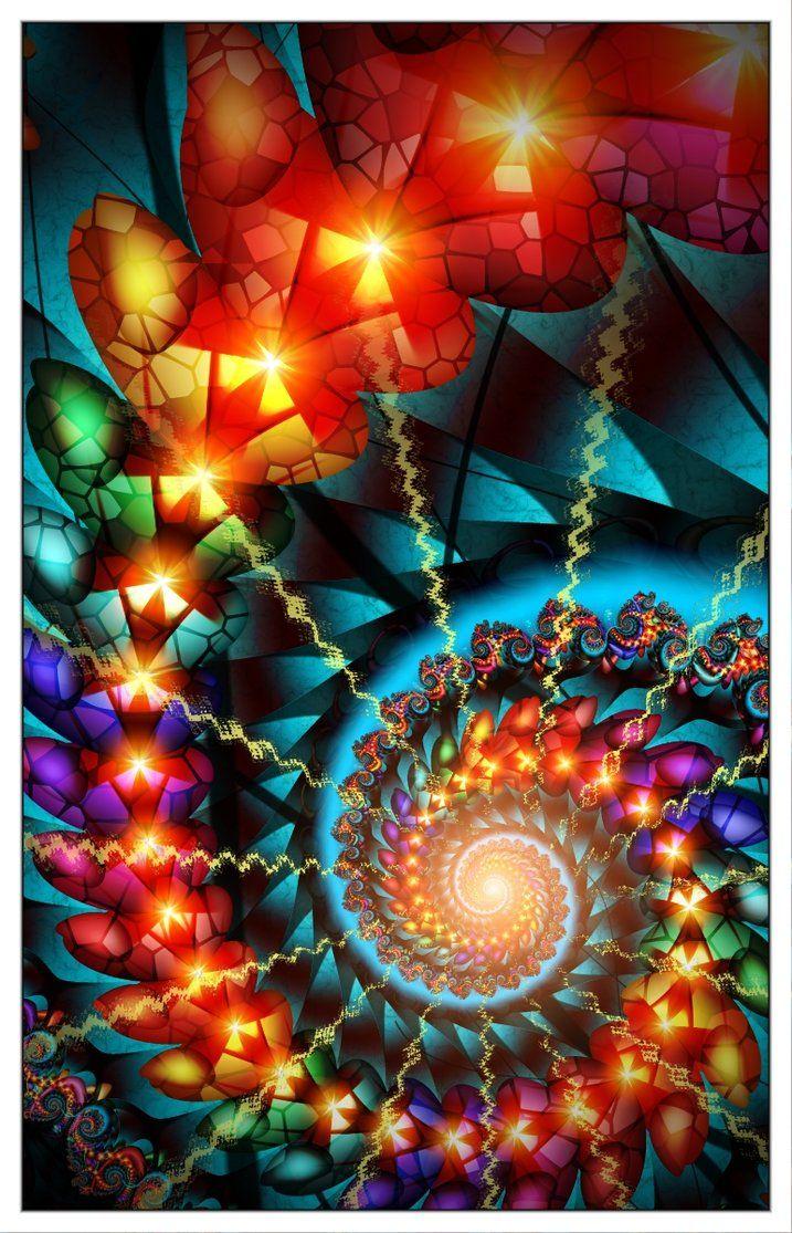 Last Spirals of Autumn - Rainbow Spiral Fractal Art