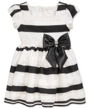 Sweet Heart Rose Shadow Stripe Party Dress, Little Girls (2-6X) - White