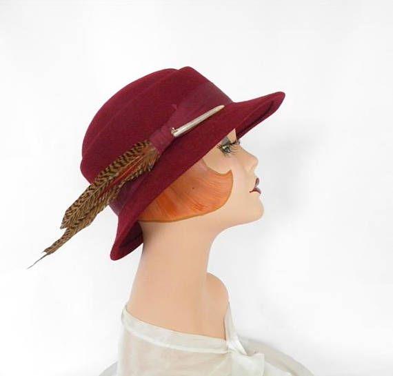 9b362a76c70 Fedora vintage hat maroon with feather burgundy tilt