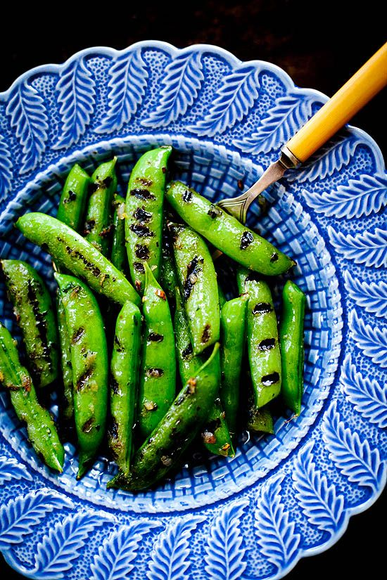 Grilled Sugar Snap Peas with Lemon Oregano Butter | ourfourforks.com