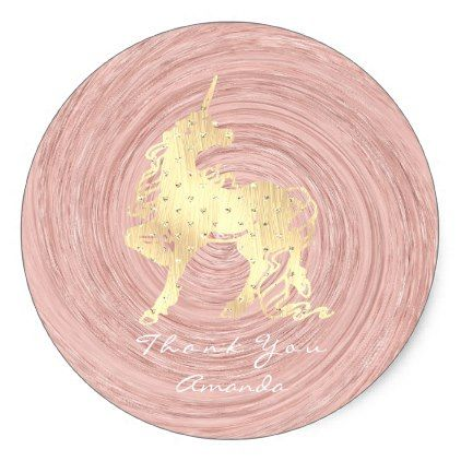 Gold Unicorn Horse Stars Thank White Pink Rose Classic Round Sticker - gold gifts golden customize diy