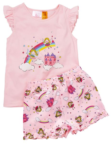 Make bedtime magical with this cute short PJ set. The knit top features a fairy placement print and frilled cap sleeves while the matching shorts have an all-over fairy print and a frill at the hem. The waistband is elasticated.