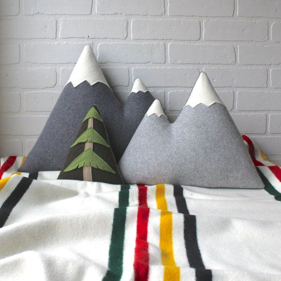 PILLOW SET of 2 mountains - LARGE Peaks pillow + ORIGINAL Peaks pillow (tree not included in set)  +++ each is handcrafted for you, please allow 3