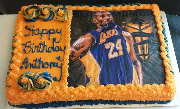 Kobe Bryant Lakers Birthday Cake Lemon Vegan Sheet Cake. Los Angeles, CA