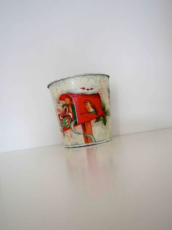 Christmas Tin BasketUniqueHandmadeHome by KyriakisAtelier on Etsy Holidays  Christmas  Decoration  key holder  table decor  christmas  red and ivory  letter box  Tin Baskets  candy tin mistletoe  pencil holder  flower pots  red and green  tin bucket  birds