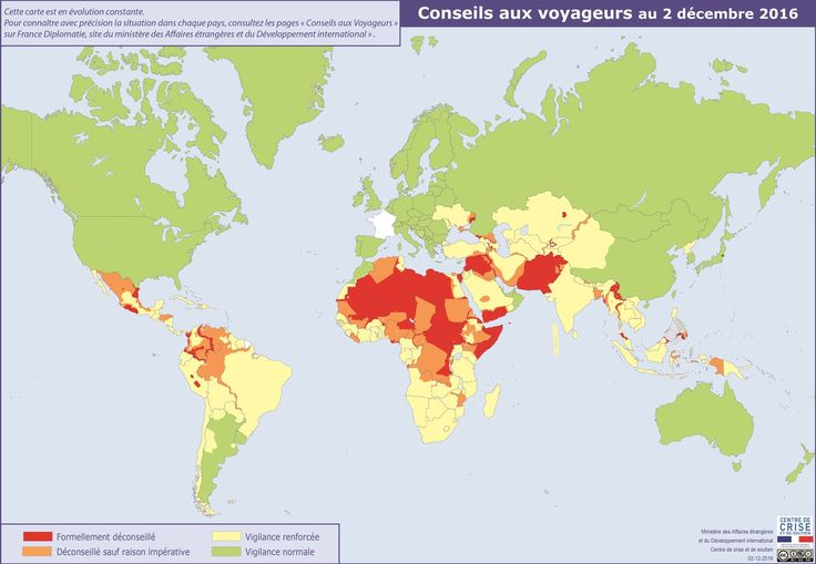 Travel advise of countries by the French government
