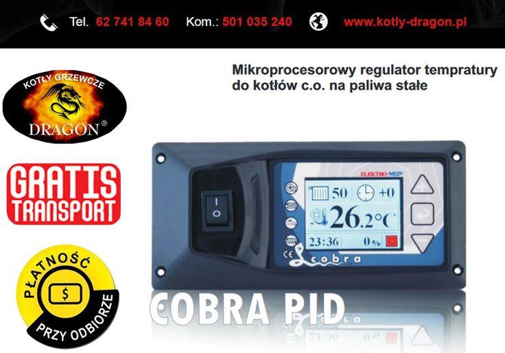 Cobra PID jest sterownikiem z płynną regulacją mocy kotła przeznaczonym do kotłów na biopaliwa oraz paliwa stałe z podajnikiem ślimakowym lub tłokowym.  Sterownik automatycznie dobiera pauzę dawki paliwa oraz ilość powietrza. UŻYTKOWNIK NASTAWIA TYLKO TEMPERATURĘ KOTŁA!  KONTAKT: tel./fax: 62 741 84 60 kom. 501 035 240  e-mail: biuro@kotly-dragon.pl e-mail: handlowy@kotly-dragon.pl  Aukcje: http://allegro.pl/listing/user/listing.php?us_id=34032782  #kocioł #piec #piece #dom #opał #ogrzewanie