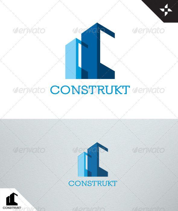 Construkt - Bienes Raíces - Logo Construcción - Letras Plantillas de Logotipos