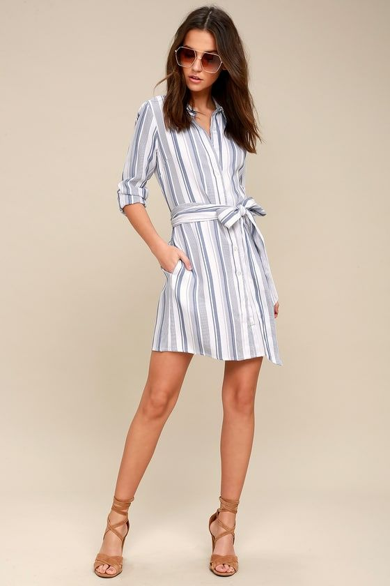 46c8f1a24d5aa9 Chic Executive Blue and White Striped Shirt Dress | lente ...