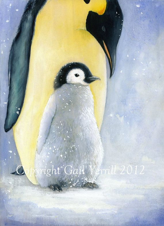 Beautiful penguins watercolour painting by illustrationgarden, £19.99