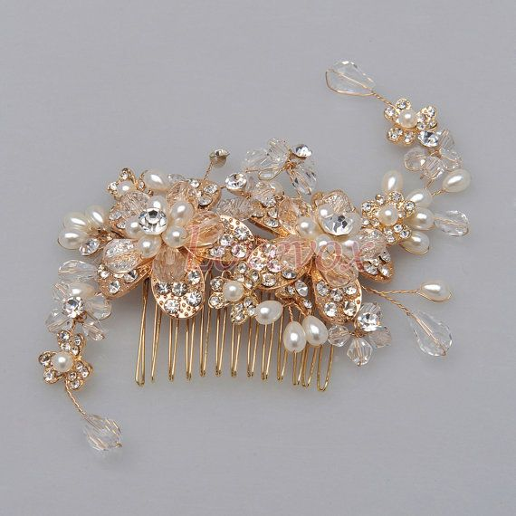 Gold Hair Comb, Gold Bridal Hair Comb with Pearls Rhinestone, Pearl Hair Comb Gold Wedding Hair Comb Pearls Bridal Hair Accessories FS130261