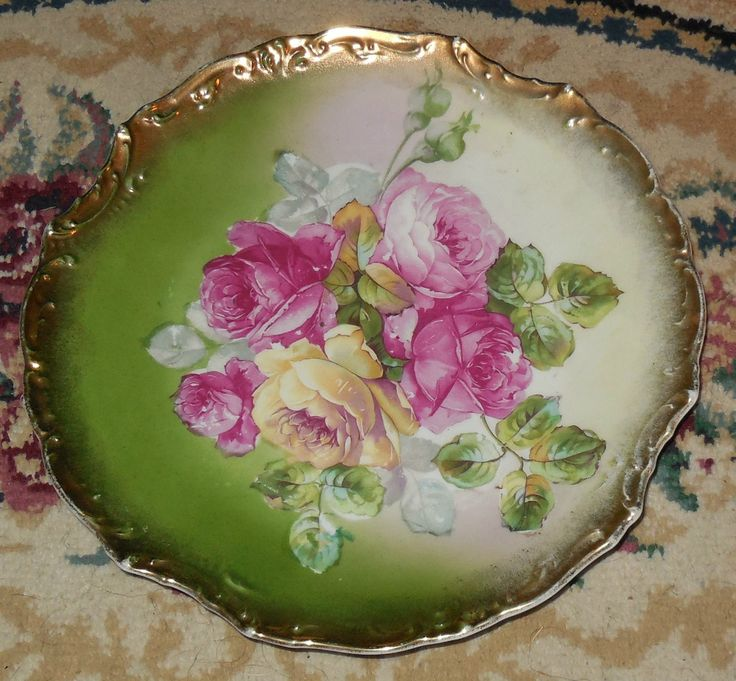 Wheelock Co Rose Porcelain Display Plate Germany & 92 best Stunning Antique Hand Painted Plates images on Pinterest ...
