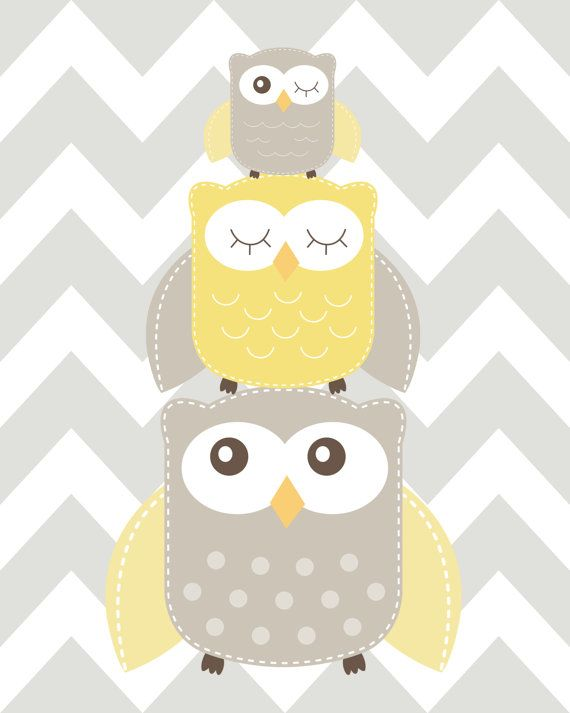 Nursery Art Nursery Owl Art Grey and Yellow Nursery by ChicWallArt