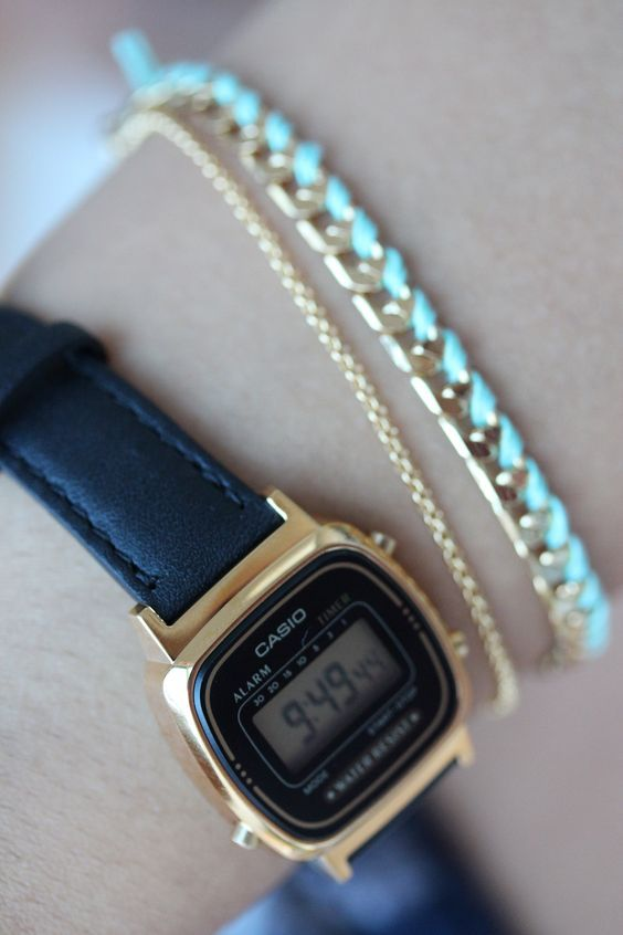 Womens black Casio leather watch with chain bracelet: