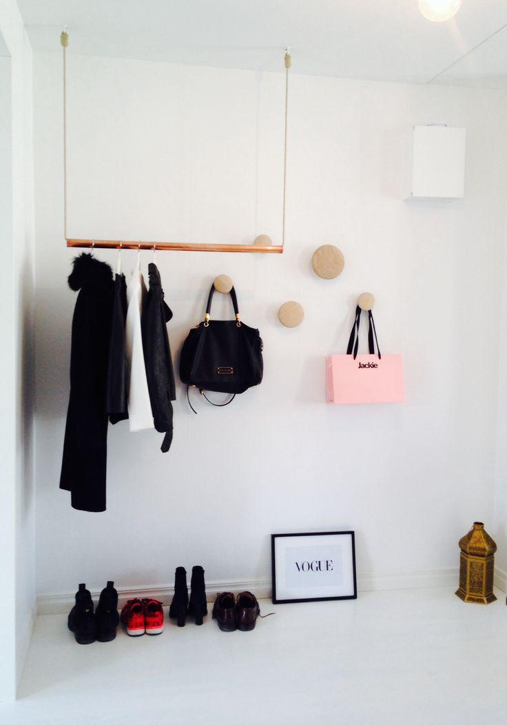 Hallway copper clothing rack
