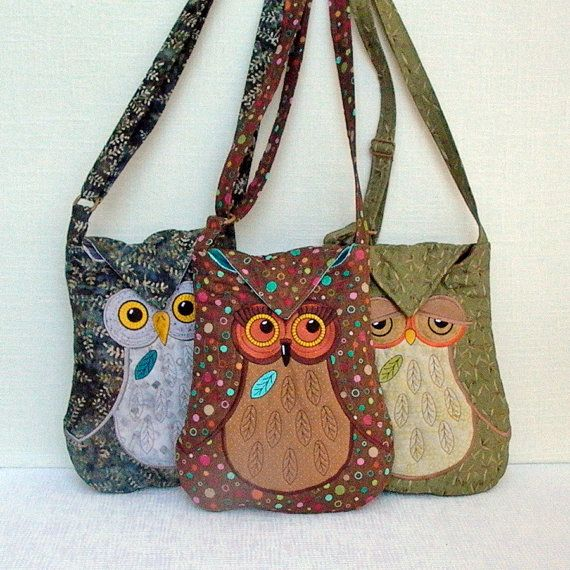 Owl Bags  Of all the Owl purses I've looked at and pinned, I like these the best. Cute!!!;  cj