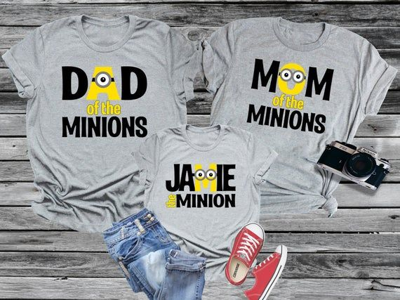 Minion Family Mom Dad Kid Etc Personalized Shirt with Name Vacation Universal Theme Park T-shirt Boy Girl Baby Reunion Party Studios Despicable Gru Tee