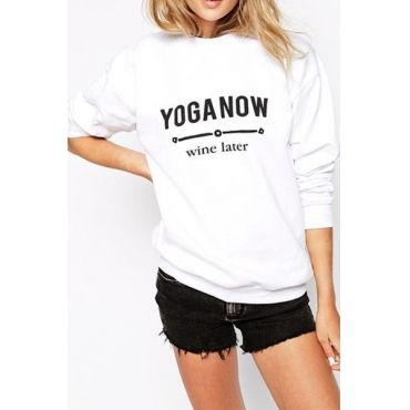USD11.49Casual Long Sleeves Letters Print White Spandex Regular Pullover Sweat