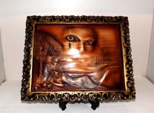 Quadro in legno moderno bassorilievo miraggio cornice oro Panneaux carving in Arte e antiquariato, Quadri, Opere di artisti indipendenti | eBay