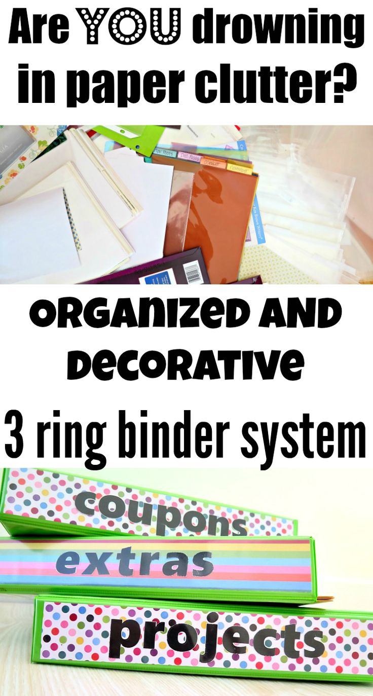 A fun and easy DIY project to organize your paper clutter using 3 ring binder labels!