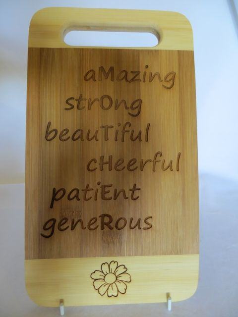 Bamboo MOTHER Cutting board - an ideal gift for Mom this Mother's Day (Sunday 10 May 2015)
