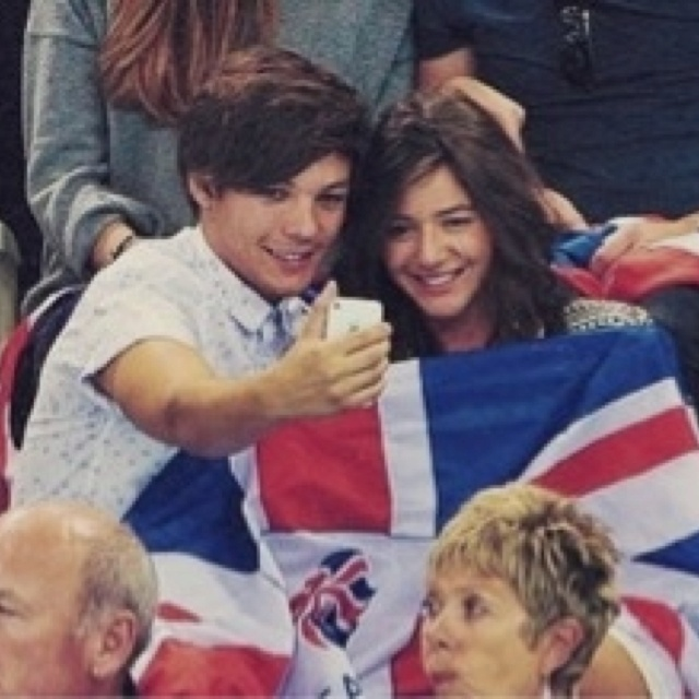 Louis Tomlinson and Eleanor Calder at the diving finals on 8/11