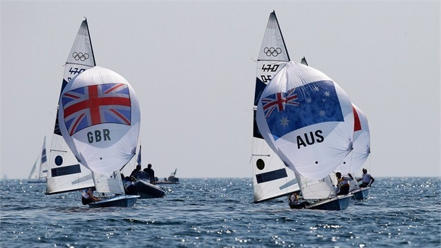 Great Britain compete in the Men's 470 Sailing