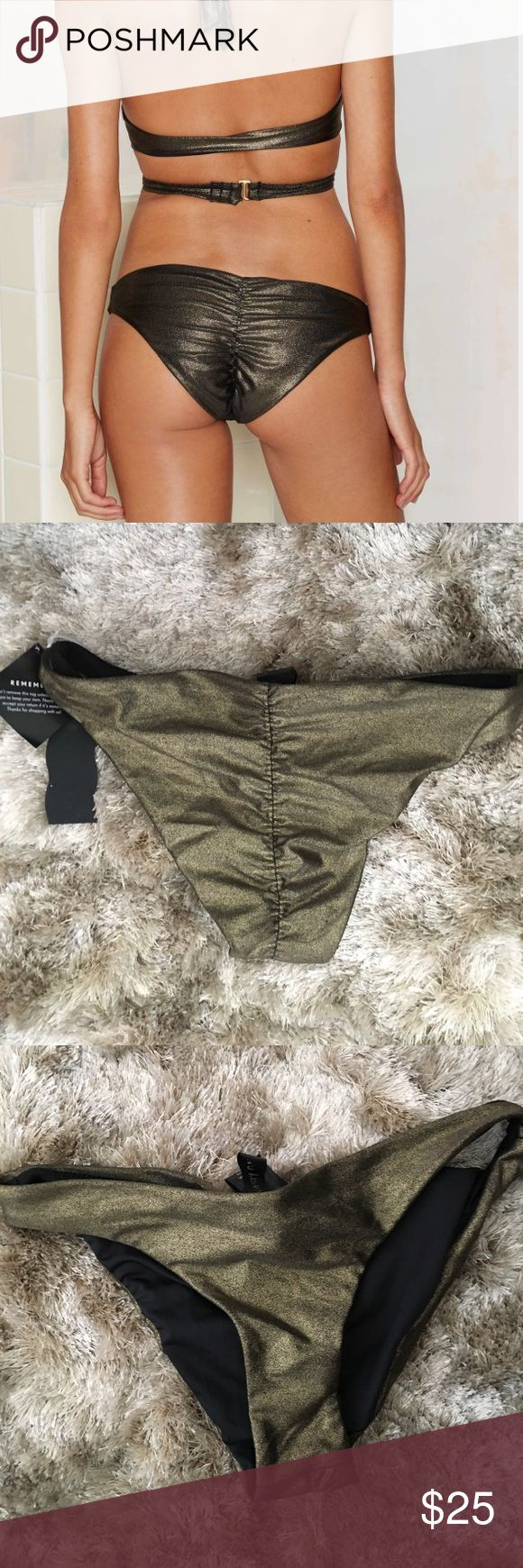 Nasty Gal Metallic Bikini Bottom Brand New from Nasty Gal or associated brand. New without tags. All items are authentic. Please refer to Nastygal.com for sizing or reviews if this listing doesn't give you the exact measurement your looking for. I'll be happy to answer any questions.   No Trade 📍 Nasty Gal Swim Bikinis