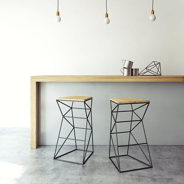 chaises hautes bois et acier noir high chairs wood and black steel