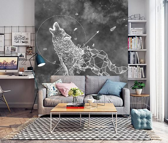 Abstract Wolf Wallpaper Removable Fabric Constellation Symbol Etsy Wolf Wallpaper Abstract Wolf Wallpaper