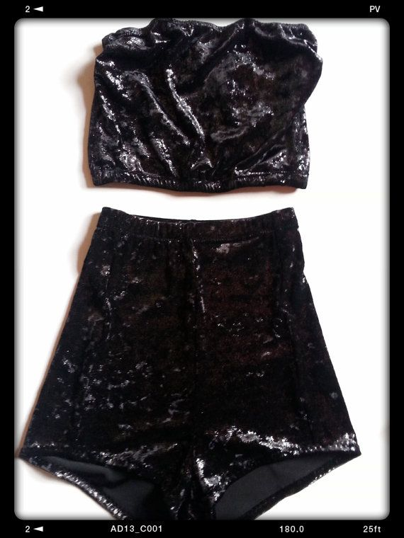 velvet playsuit bandeau crop top and high waisted by BOODWAH