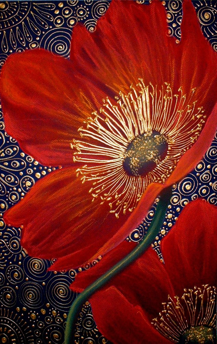 Red Velvet Poppies ~ artist Cherie Dirksen, c.2009; chalk pastel & acrylic liner, 32.5cm x 50cm. Private collection. #art #painting #floral