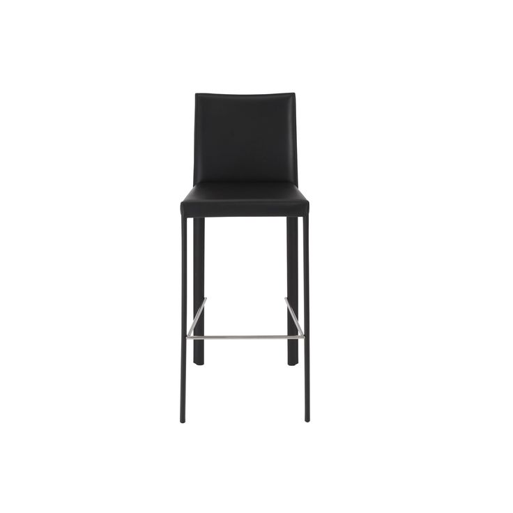 Euro Style Hasina 30-inch Black/ Stainless Steel Bar Stool (Set of 2) (Black/Stainless Steel) (Leather)