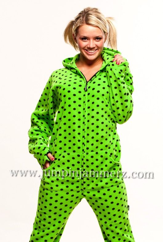 Perfect for St. Patrick s Day! Jumping Jammerz Green Diva Dots adult onesie  footed pajamas!  pajama  adultonesie  onesie  pajamas  footedpajama  footie  ... ce4da7527