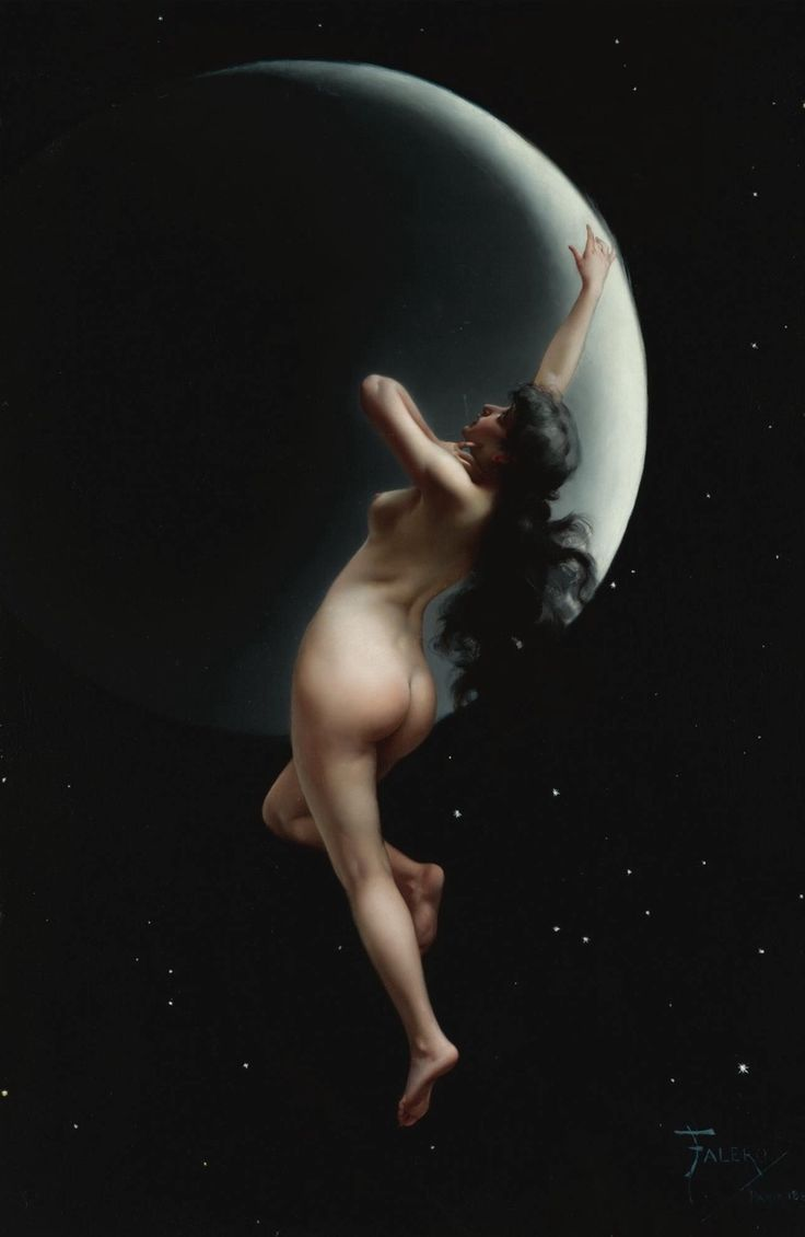 The Moon Nymph.1883. Oil on Canvas laid on board. 76 x 51 cm. Art by Luis Ricardo Falero.(1851-1896).