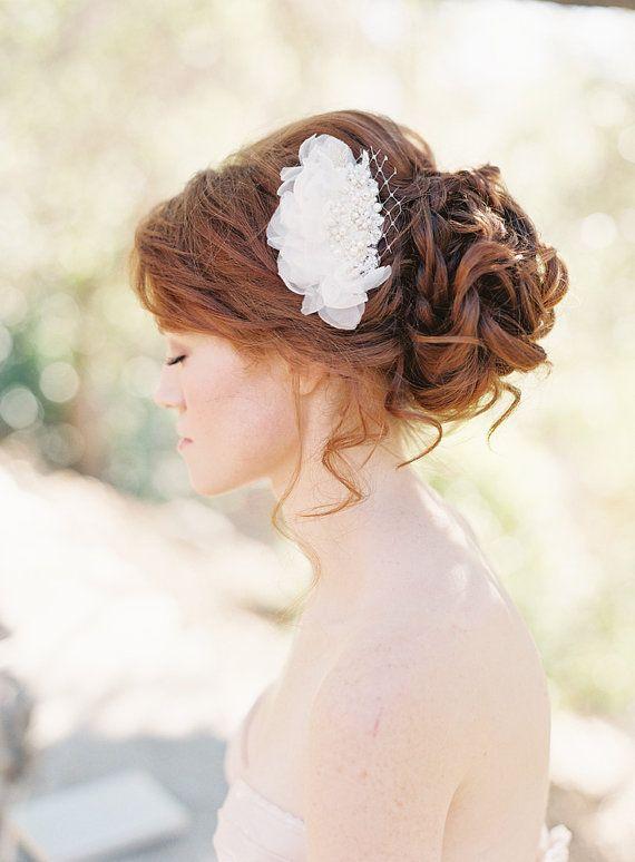 Bridal Hair comb fascinator Chiffon Petals Floral by sibodesigns. , via Etsy.