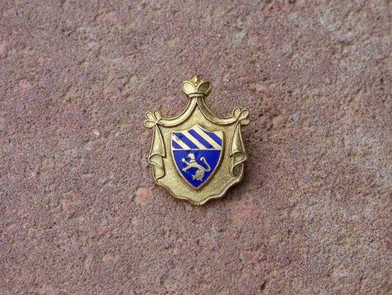 Heraldic Coat of Arms Pin  1950's Metal Pin  Enameled