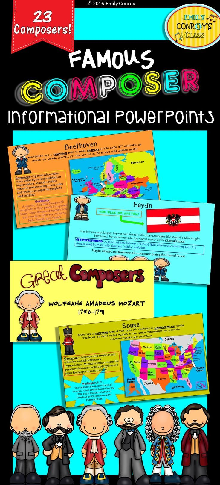 This composer product contains 118 pages of information on 23 different music composers from the Baroque, Classical, Romantic, and Impressionist periods. It also contains information on 3 composers from the United States! Simply display the PowerPoint for your students, and start reading!
