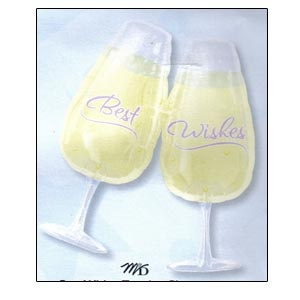 "SuperShape Best Wishes Toasting Glasses mylar balloon (27"" x 30"") empty"