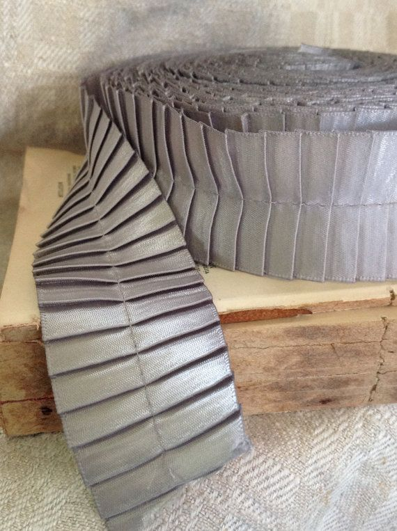 light pewter grey silver satin pleated ribbon by ShyMyrtle on Etsy, $3.00