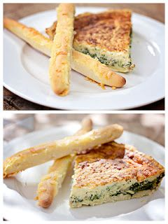 Spinach, Bacon & Parmesan Quiche Source: Based on a recipe found on Taste.com.au. Ingredients  1 qty sour cream pastry  2 teaspoons olive oil 1 onion, halved 100 grams rindless bacon, in short, thin strips 125 grams spinach (if frozen, then thawed and drained) 4 eggs 185 grams cream (or milk) 125 grams milk 50 grams cheddar cheese, grated 50 grams parmesan cheese, grated