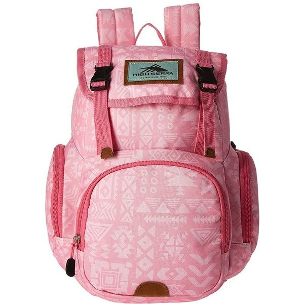 High Sierra Mini Emmett Backpack (Block Print/Pink Lemonade) Backpack... ($18) ❤ liked on Polyvore featuring bags, backpacks, day pack backpack, backpack bags, strap backpack, pink rucksack and top handle bags
