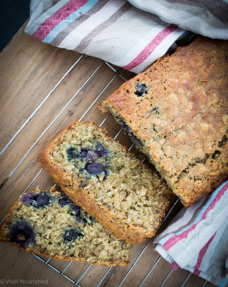 This Blueberry, Lemon Oat Loaf is a fabulous Baked-to-go healthy breakfast recipe.  Wheat free, nut free and low fructose with variations for dairy free. One of many recipes that double as a healthy snack for school lunches or after school.